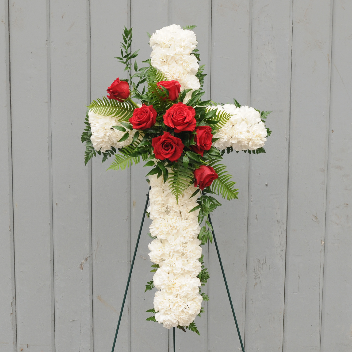 Carnation Cross With Floral Accent Floral Sunshine