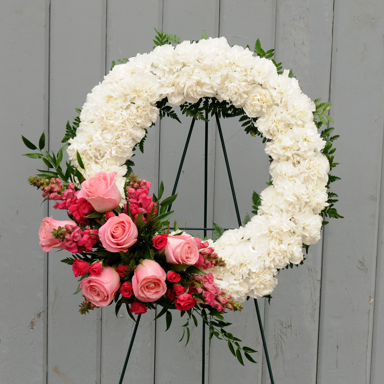 White Carnation Wreath With Floral Accent Floral Sunshine