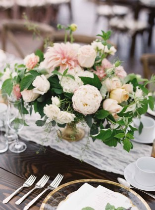 Flower compote arrangement with cafe au lait dahlias, peonies, garden roses, and raspberry foliage - designed by Flora Nova Design Seattle