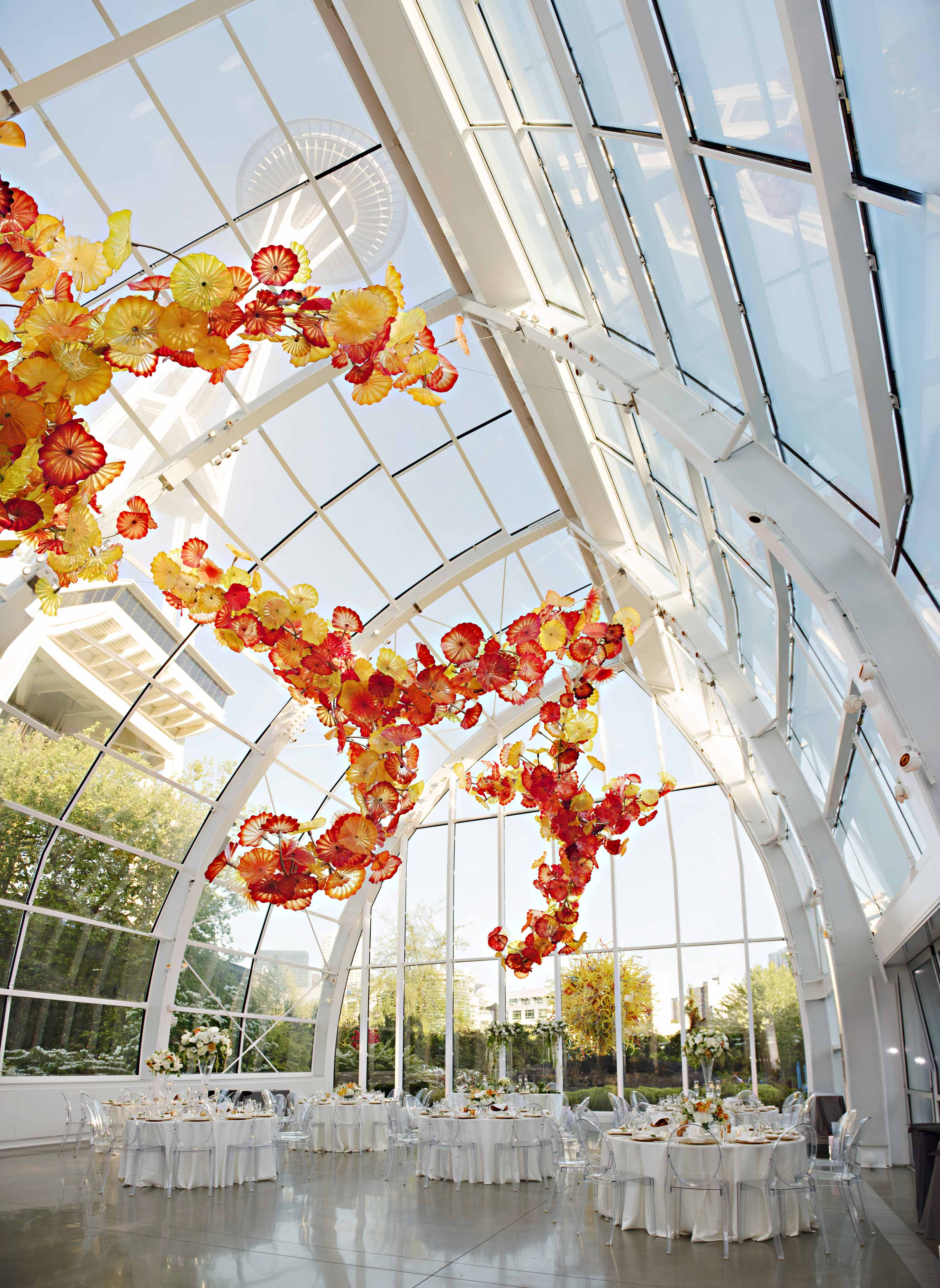 Chihuly Garden and glass wedding reception designed by Flora Nova Design Seattle