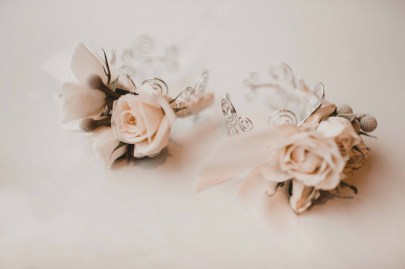 Flora Nova Design Seattle - Luxurious Winter Wedding at the Edgewater Hotel. White and Grey Wrist Corsages
