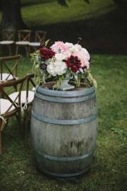 Flora Nova Design Seattle -Romantic DeLille Cellars Wedding. Winery Wedding with Burgundy, Blush, and Cream Dahlia Centerpieces