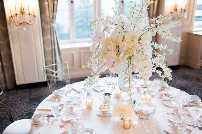 Flora Nova Design Seattle - Orchid Wedding at the Rainier Club. phalaenopsis and dendrobium orchid centerpiece