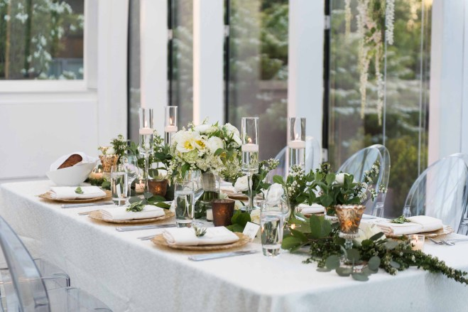 Flora Nova Design Seattle Wedding Reception Greenery Table Runner
