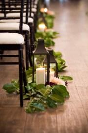 Flora Nova Design Seattle Greenery Aisle Runner Candle Lanterns