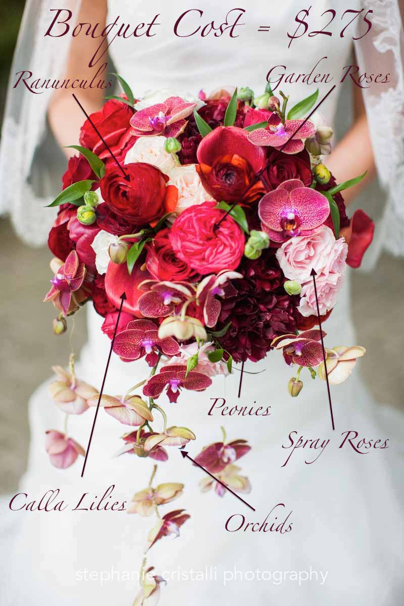 Red garden roses, trailing orchids, red ranunculus: Summer flowers vibrant bouquet recipe and pricing - Flora Nova Design Seattle