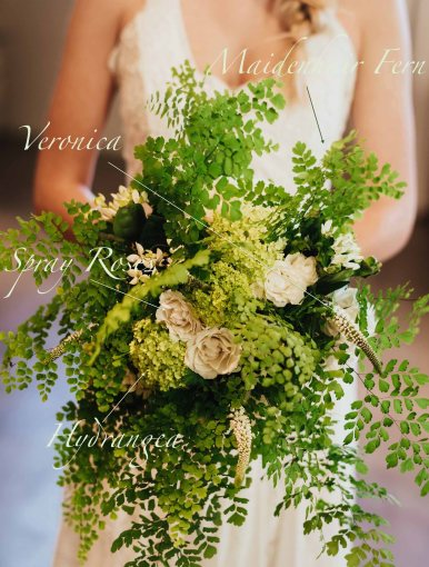 Bridal bouquet flowers and recipe, with maidenhair fern, ivory roses, green hydrangea