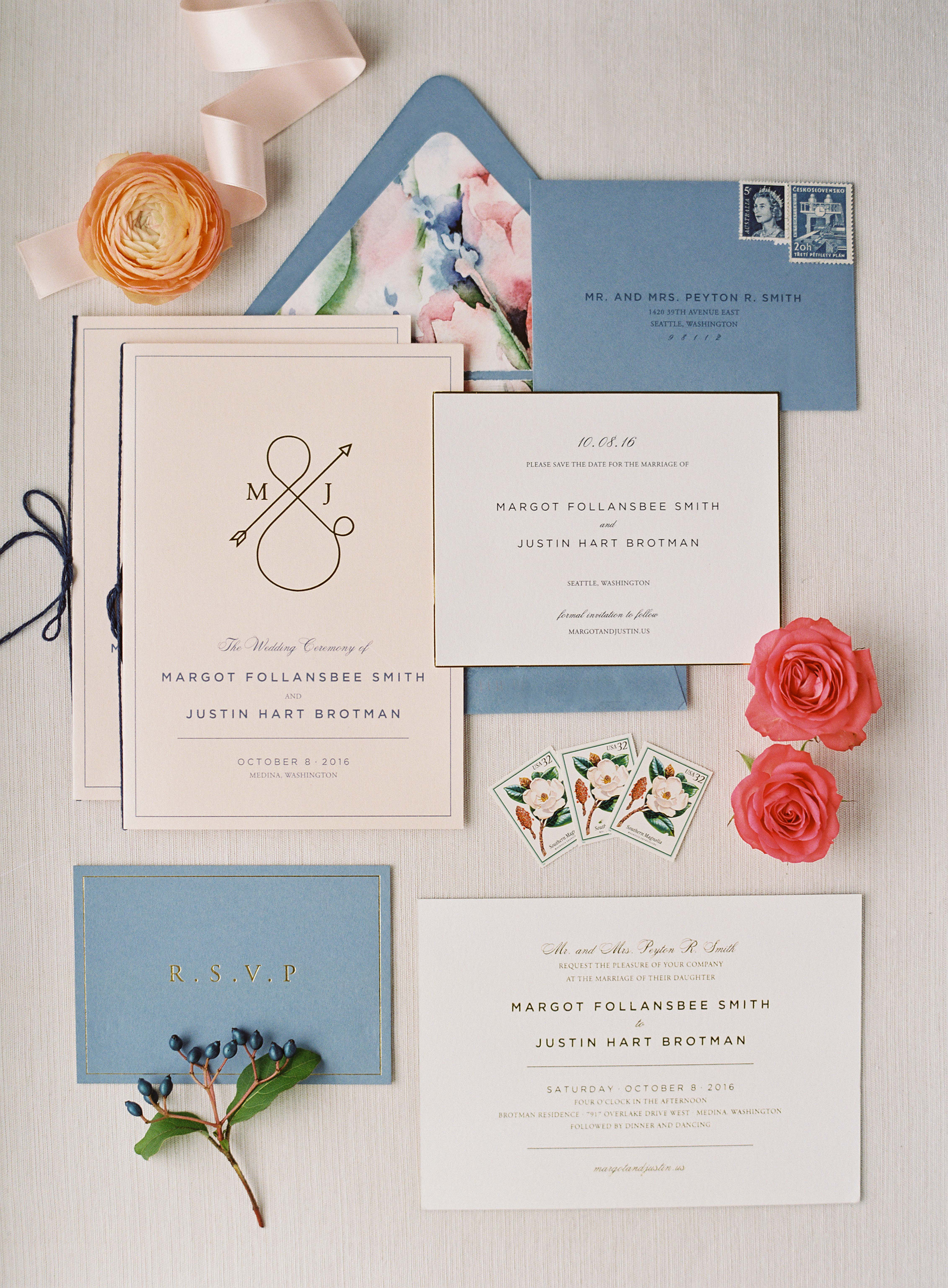 wedding stationery in French blue with orange ranunculus
