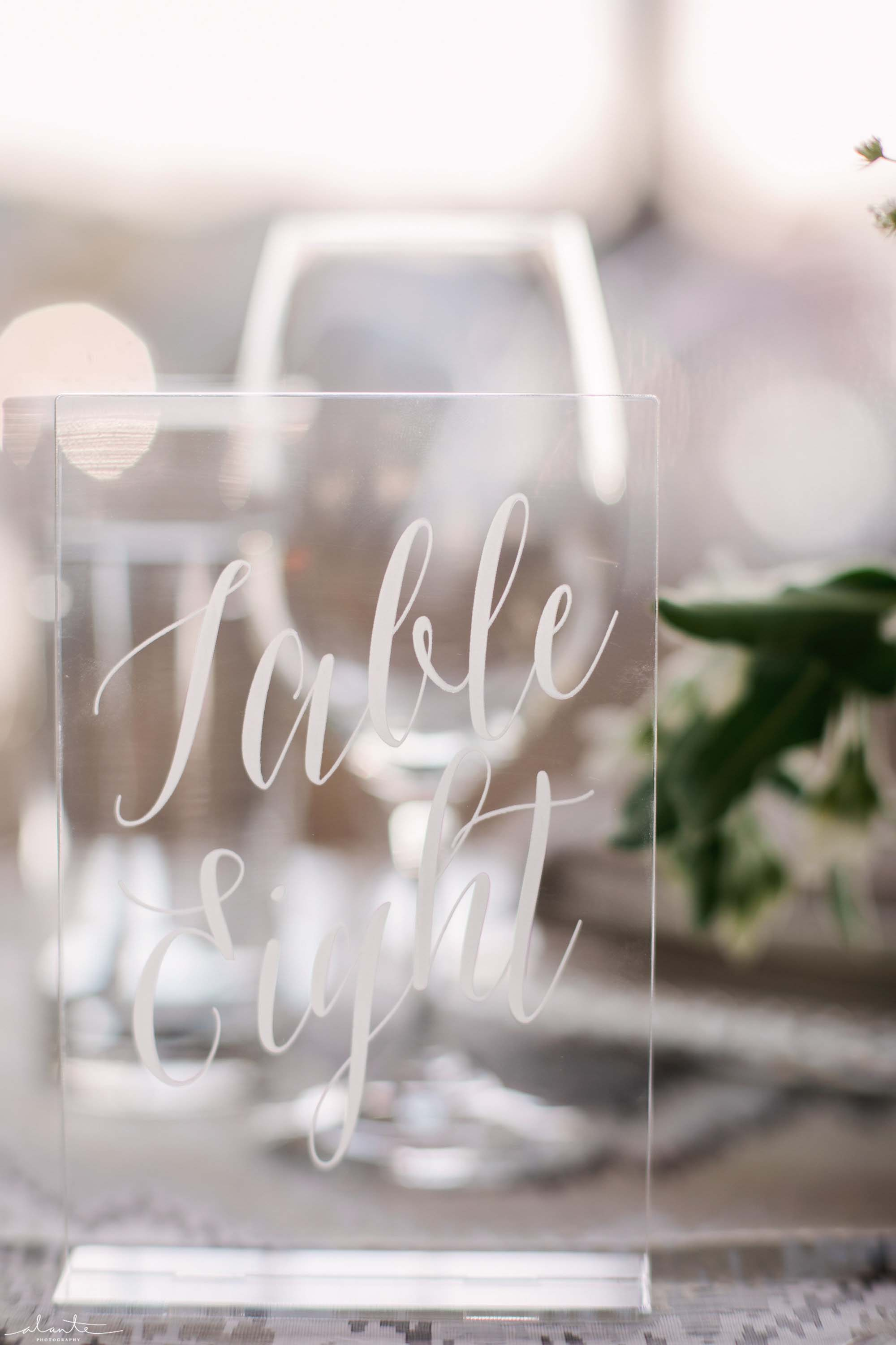 Lucite table number