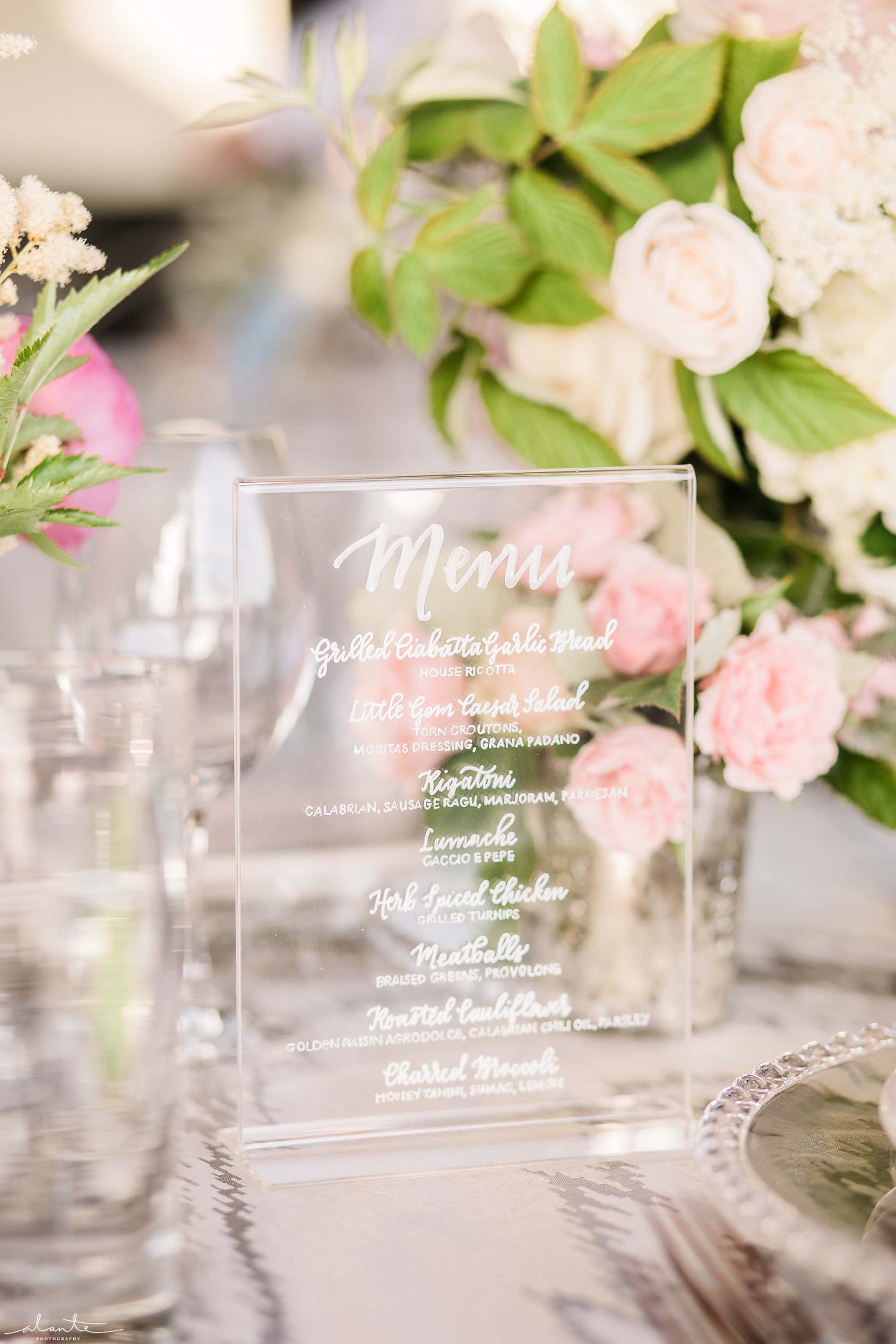 Lucite menu card at wedding reception - Olympic Rooftop Pavilion wedding with pink peonies by Flora Nova Design Seattle