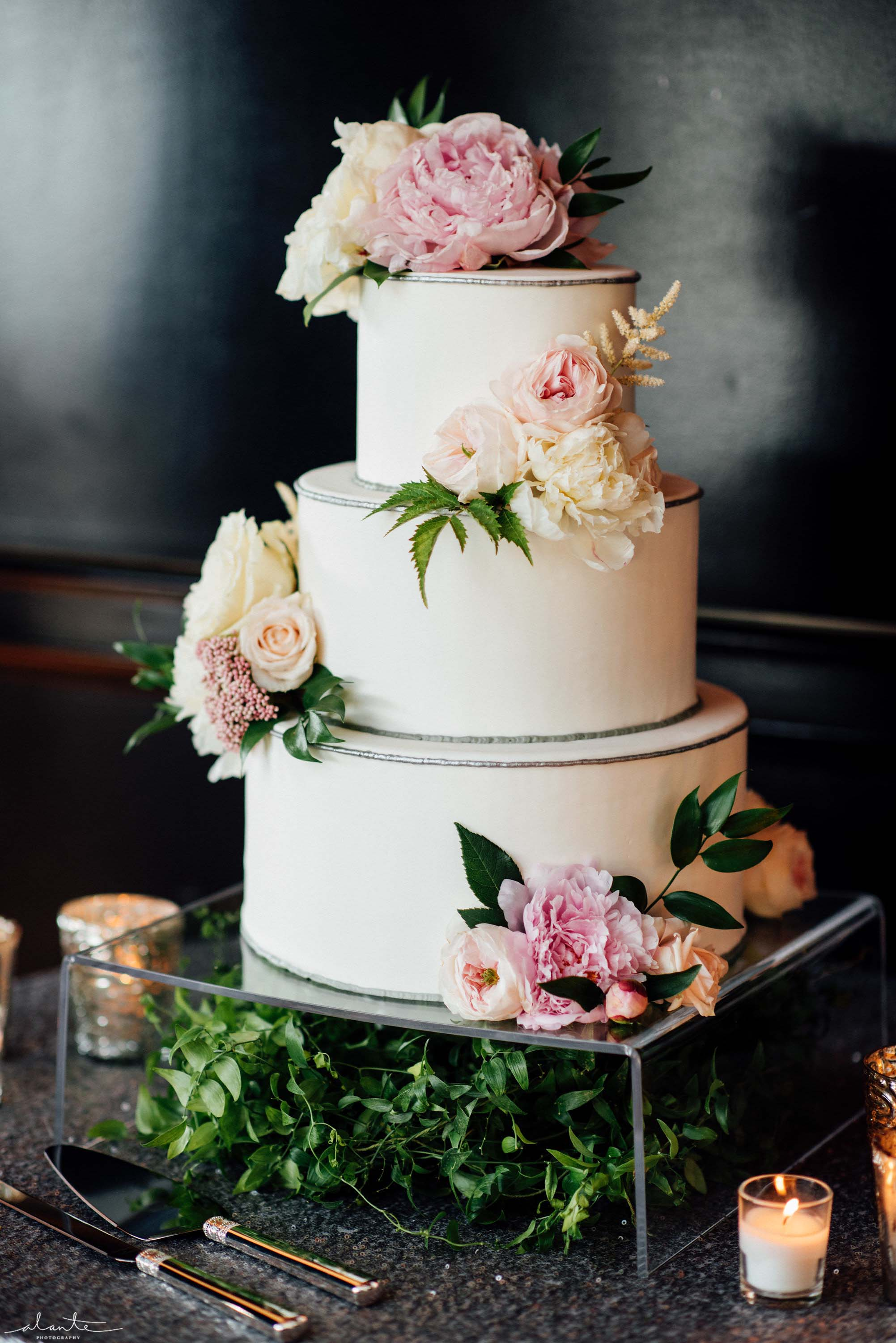 Wedding cake with pink flowers, Olympic Rooftop Pavilion wedding with pink peonies by Flora Nova Design Seattle