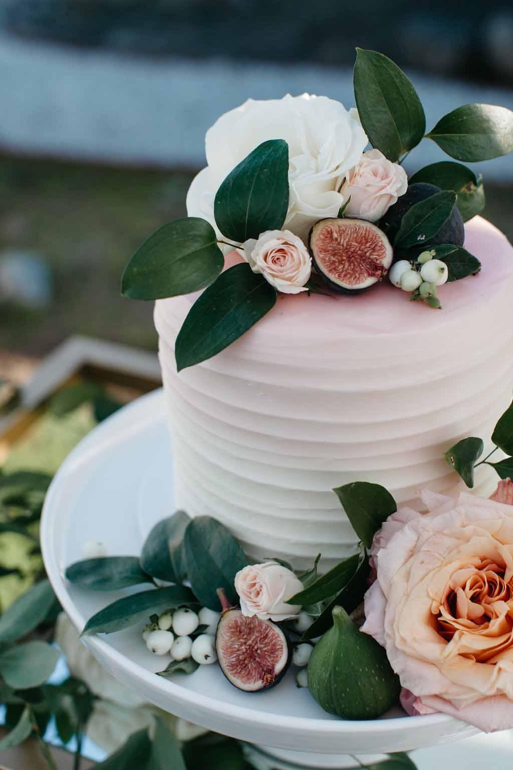 Wedding cake decorated with fruit, flowers, and greenery - Elegant Seattle Garden Wedding by Flora Nova Design Seattle