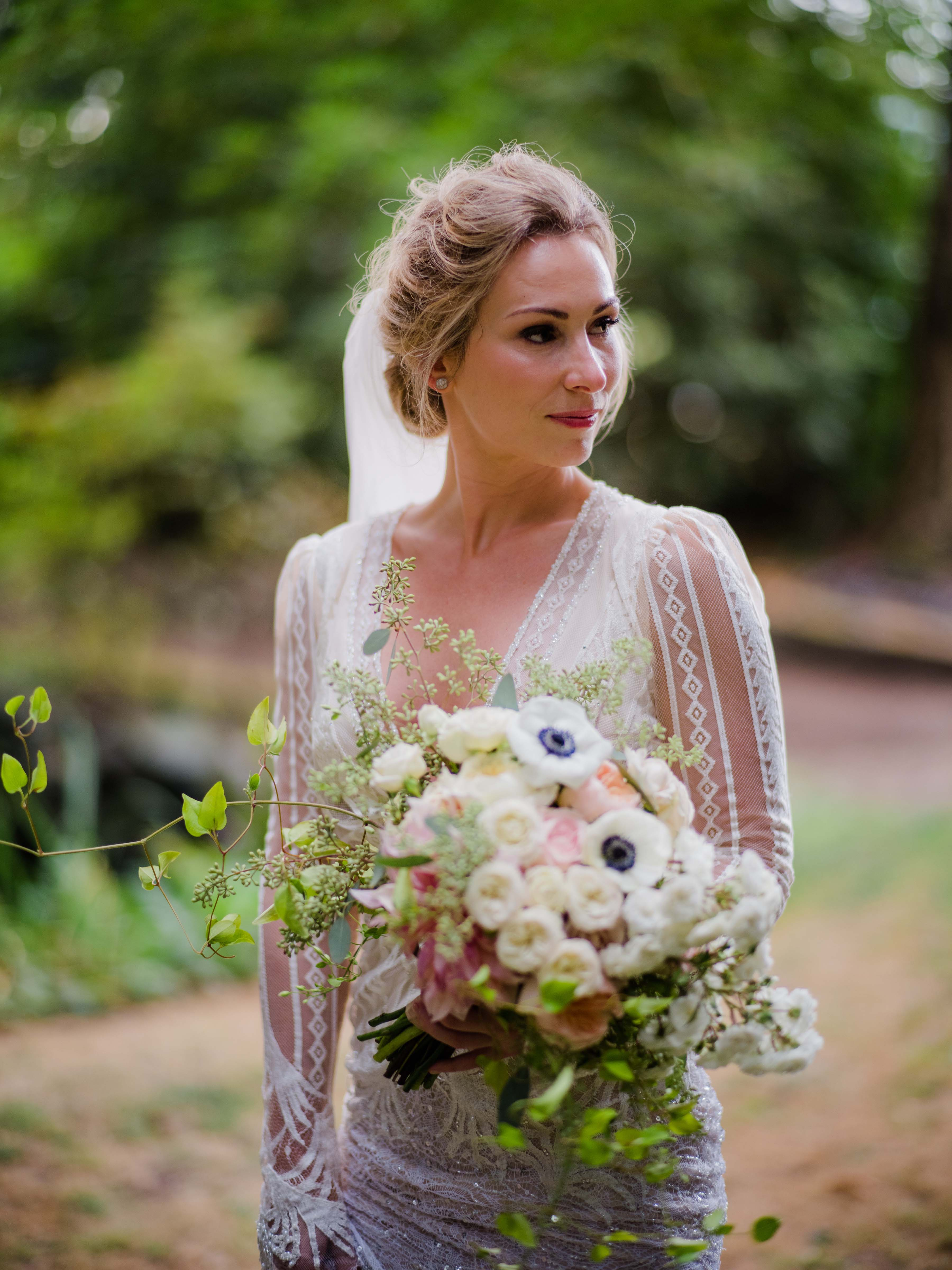 Bride holding her bouquet for Chateau Lill wedding