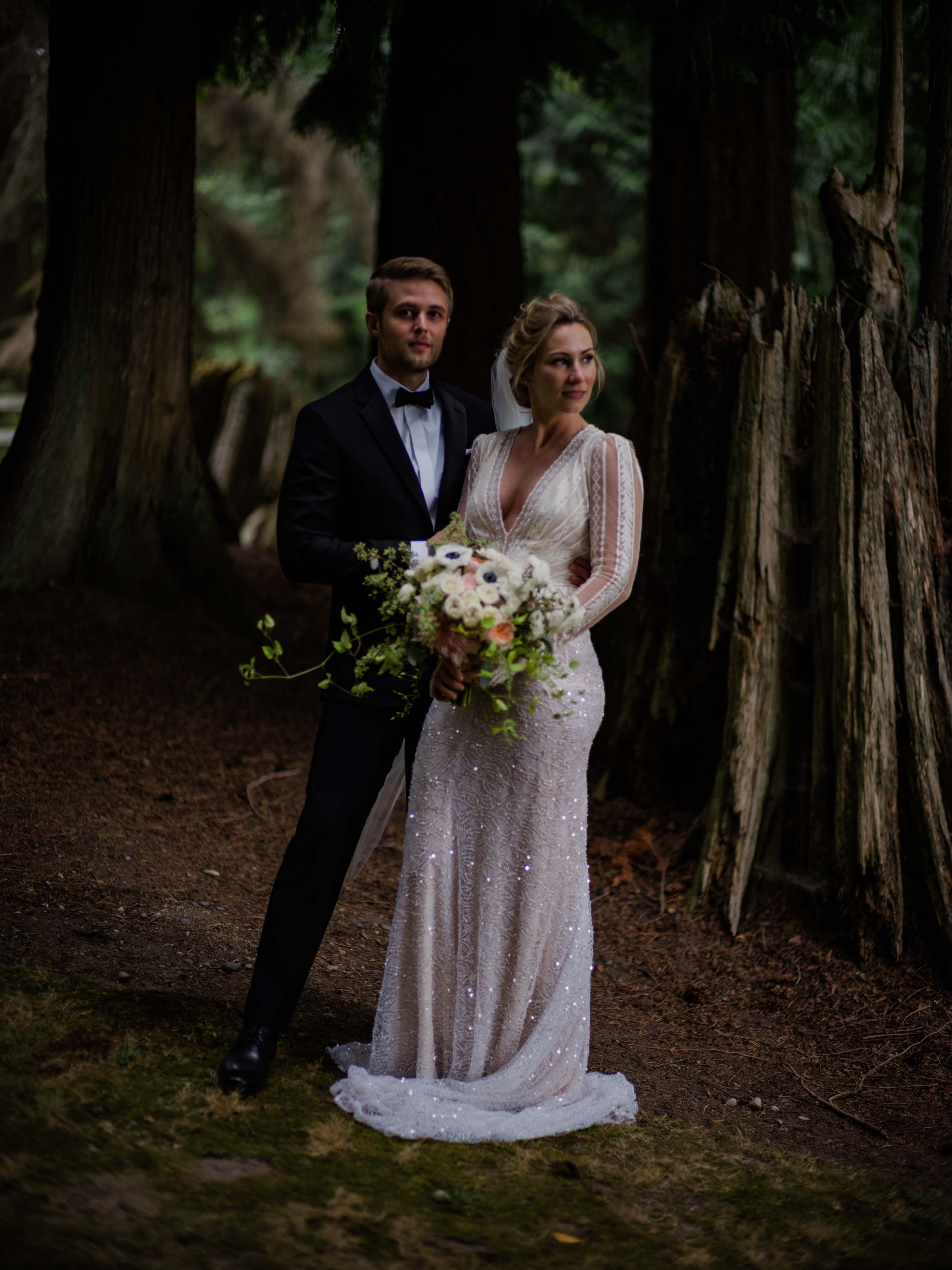 Bride and groom at their Chateau Lill wedding, designed by Flora Nova Design