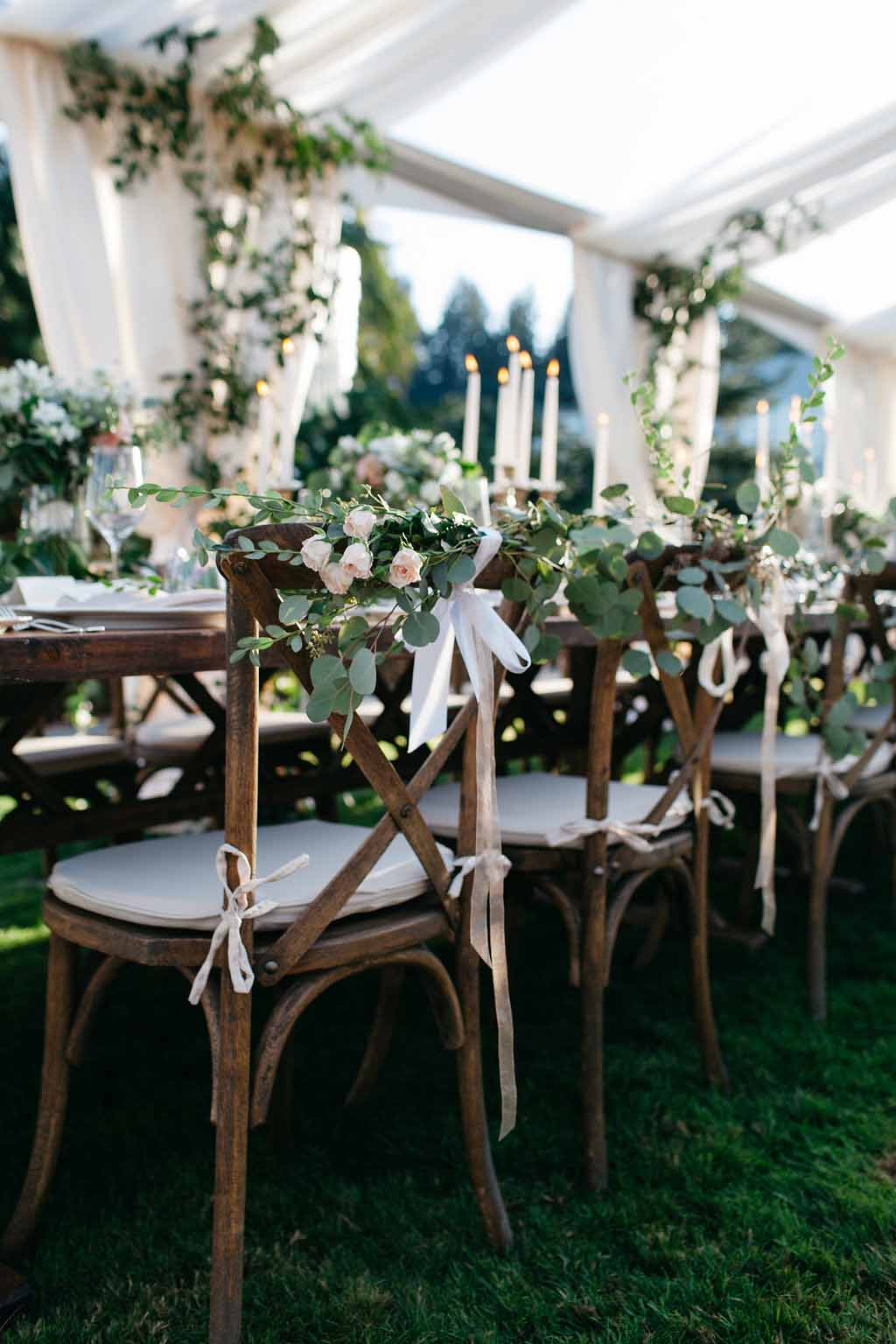 Bride and groom chair decorations with greenery and flowers - Elegant Seattle Garden Wedding by Flora Nova Design Seattle