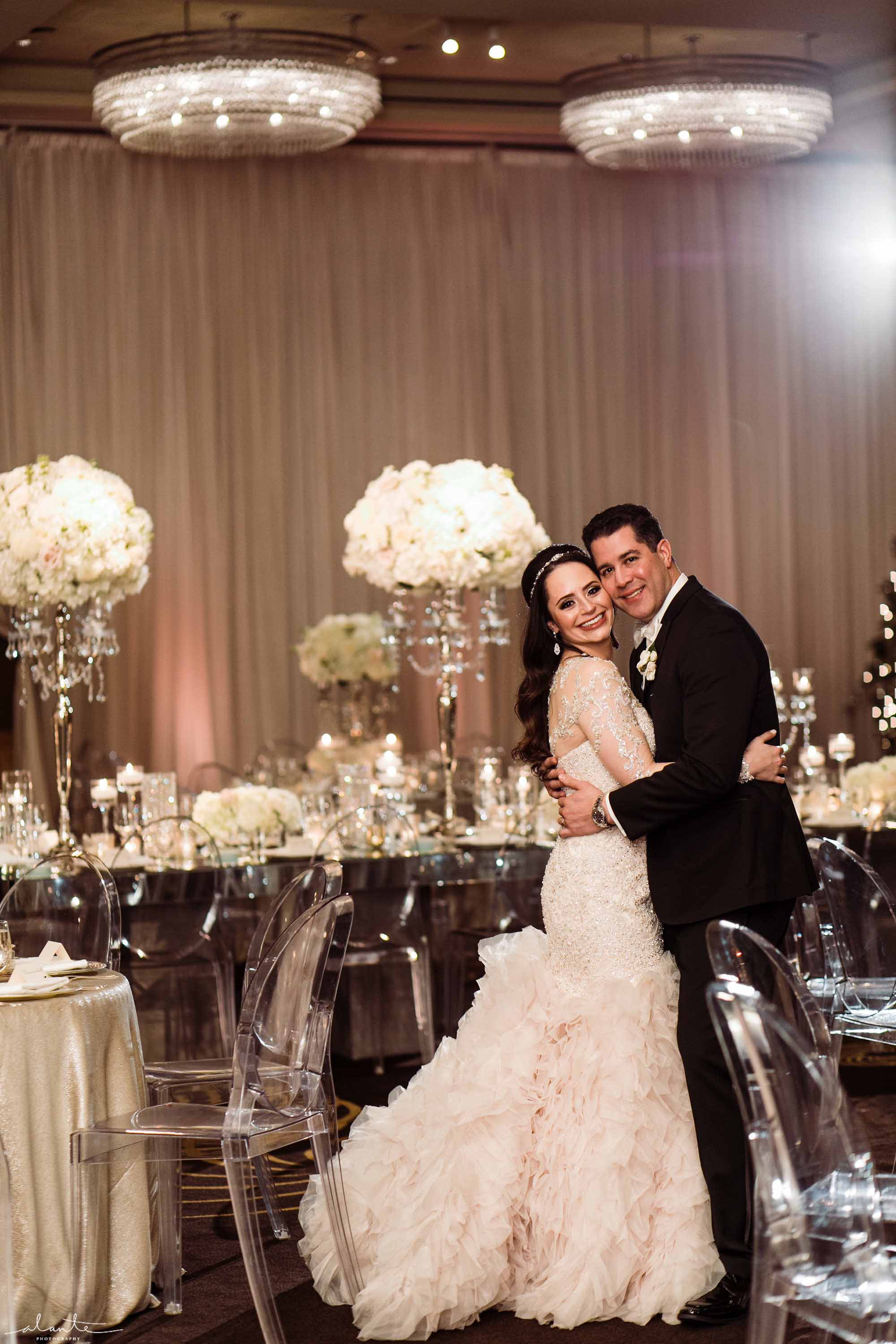 Bride and groom at the gorgeous wedding reception - Luxury Winter Wedding at the Four Seasons by Flora Nova Design Seattle