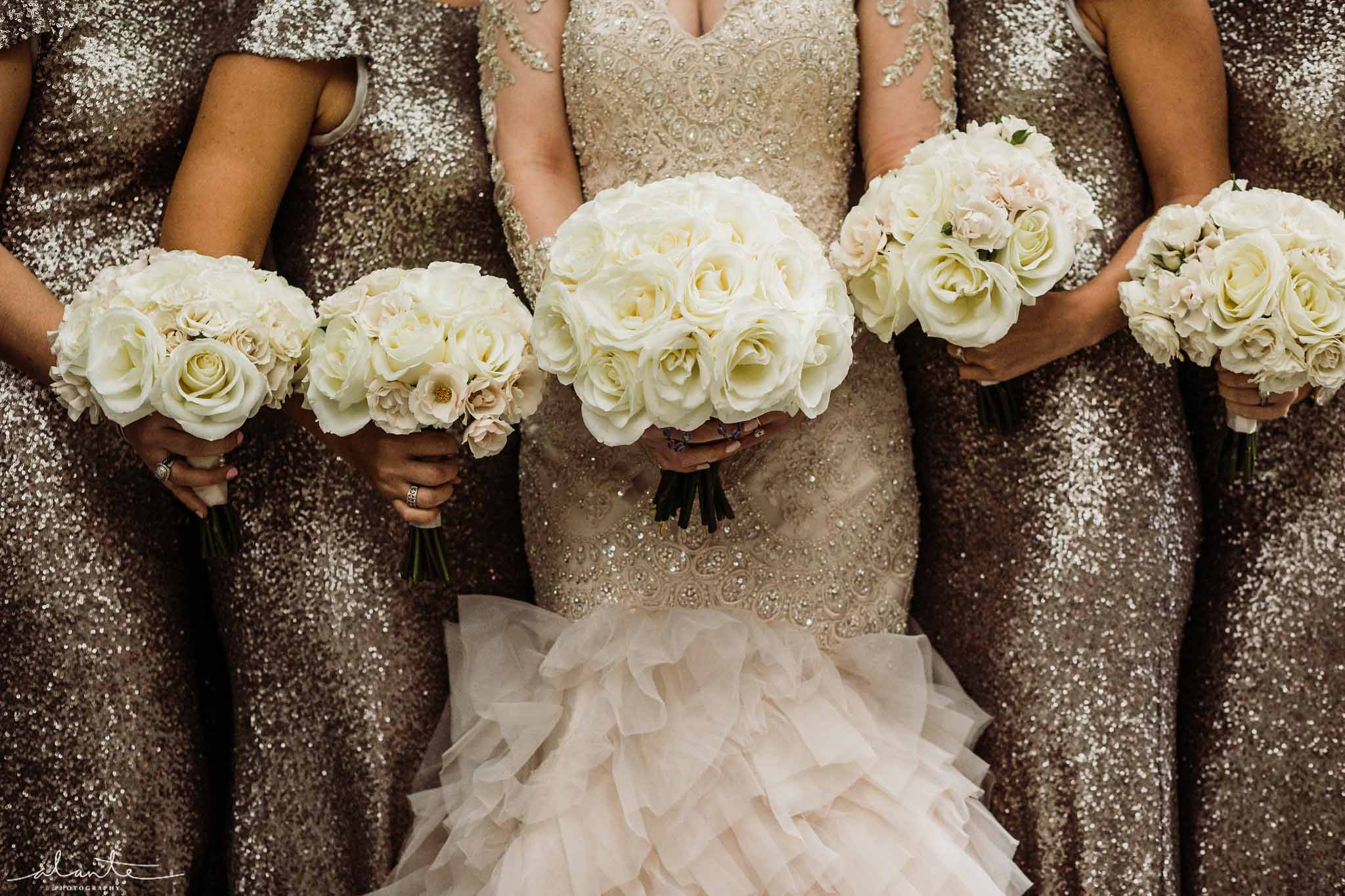 Bridal bouquets of white roses - Luxury Winter Wedding at the Four Seasons by Flora Nova Design Seattle