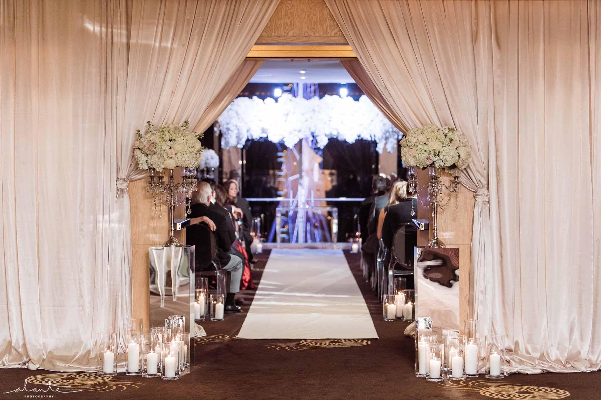 Glamorous wedding aisle - Luxury Winter Wedding at the Four Seasons by Flora Nova Design Seattle