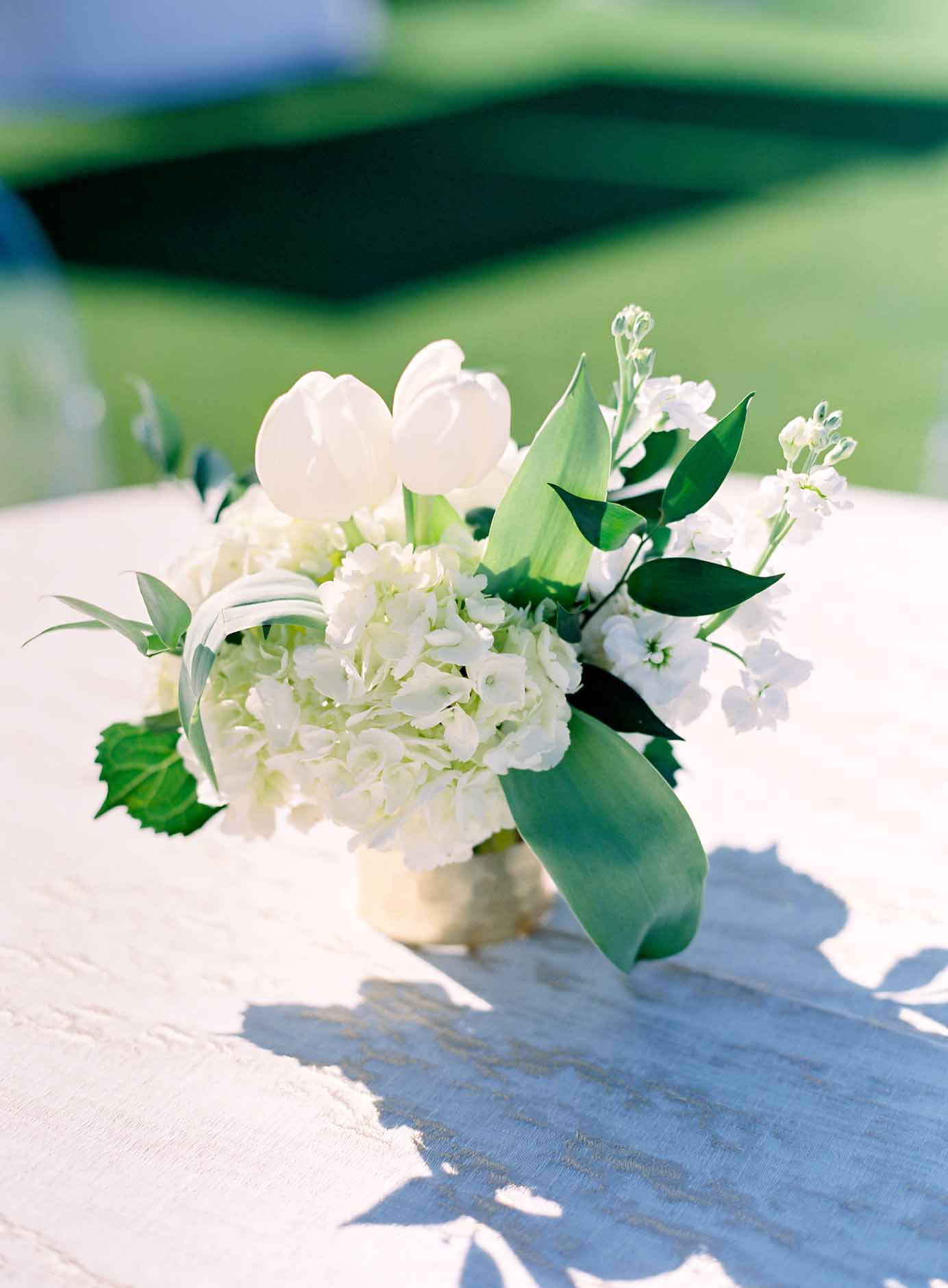 Cocktail table arrangement of white hydrangea, white tulips, white roses