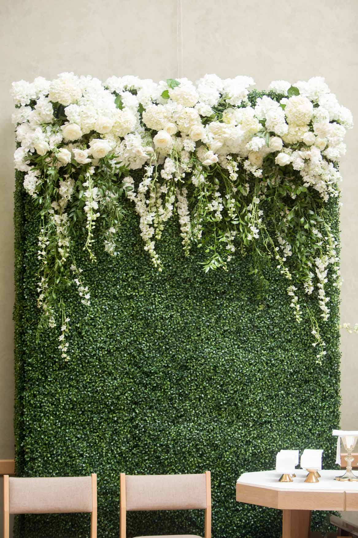 Large greenery wall trailing with white flowers - Elegant Summer Private Estate Wedding. Flora Nova Design Seattle