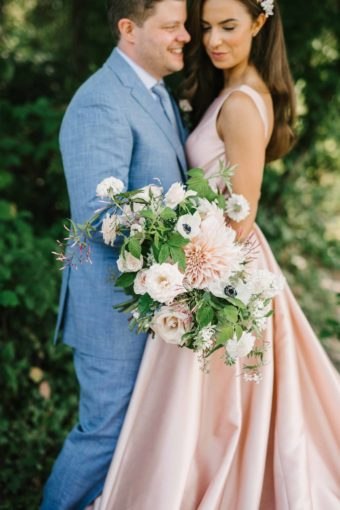 bridal bouquet, pink wedding dress, summer flowers