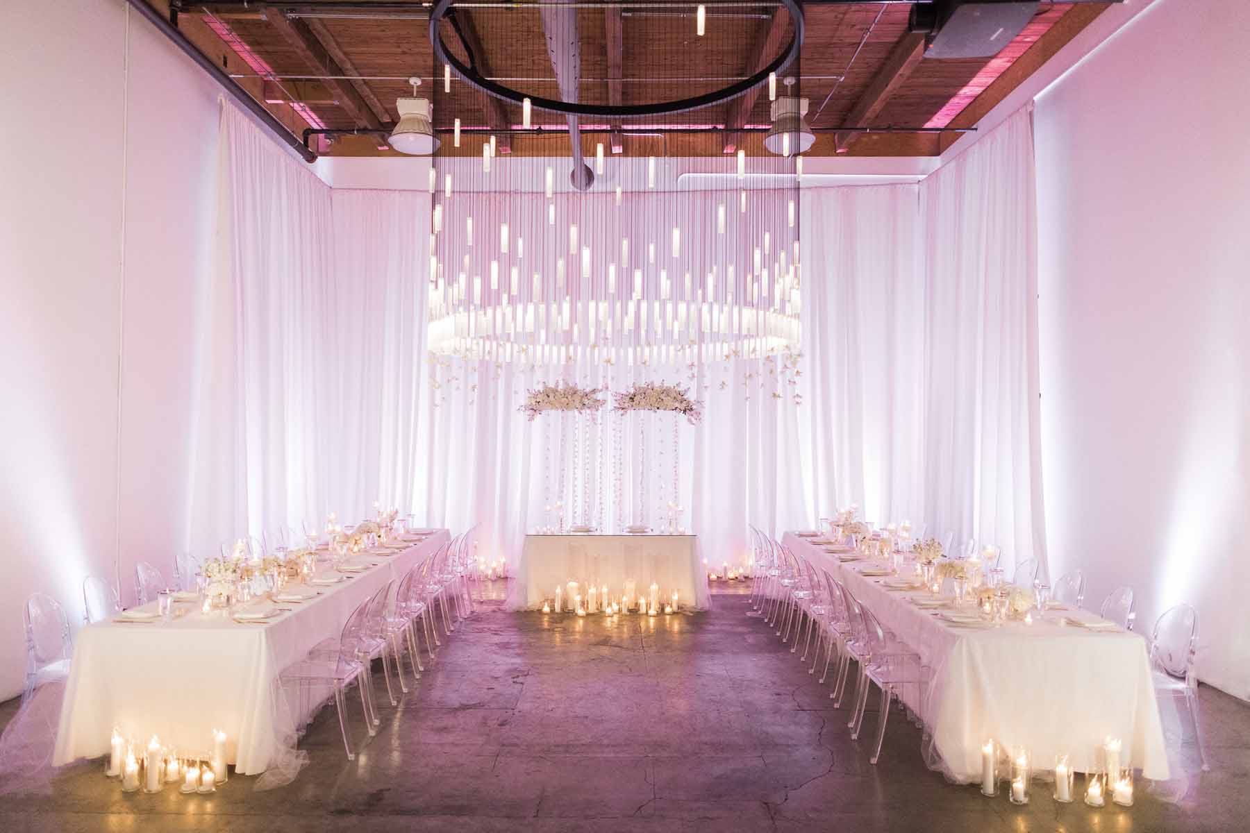 All white, modern wedding reception at Canvas Event Space - designed by Flora Nova Design