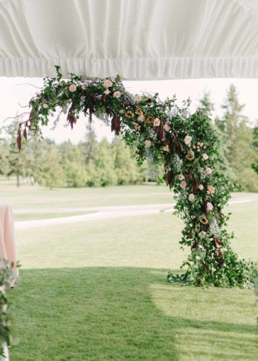 wedding arch, greenery vines, ceremony backdrop, Flora Nova Design