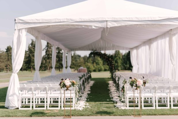 tent wedding, summer wedding, ceremony aisle