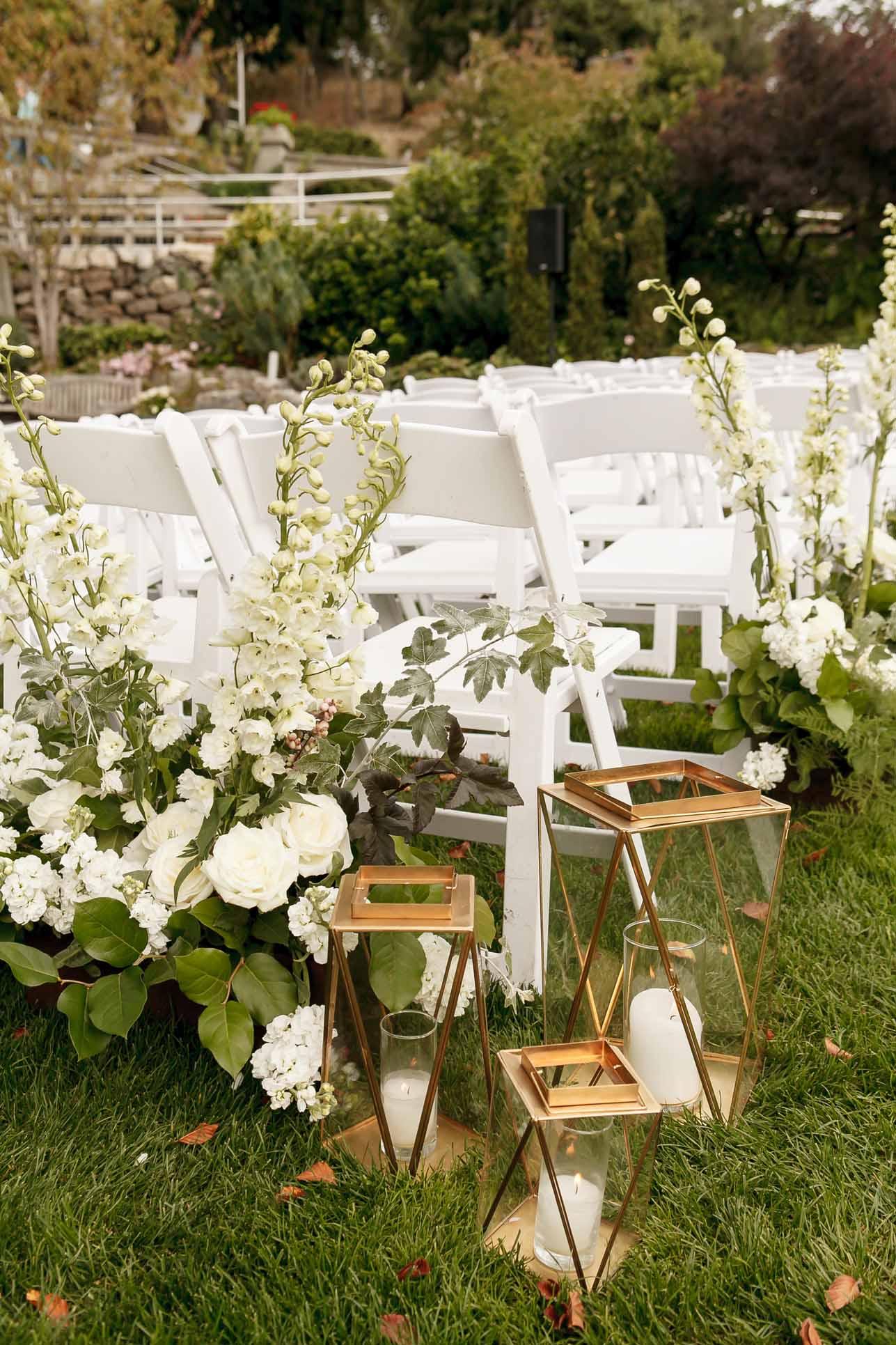 Wedding ceremony aisle decor