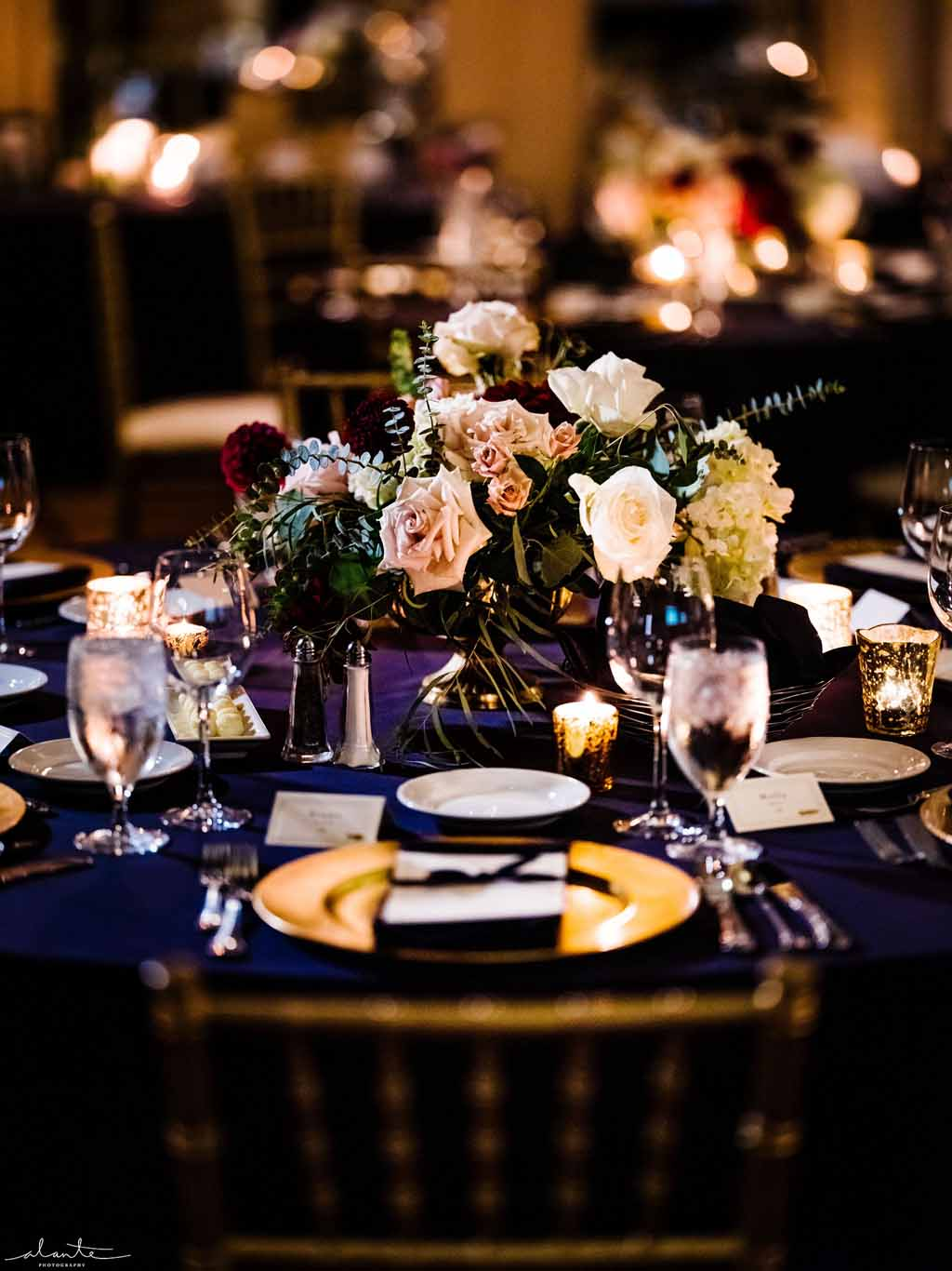 floral centerpiece at winter wedding
