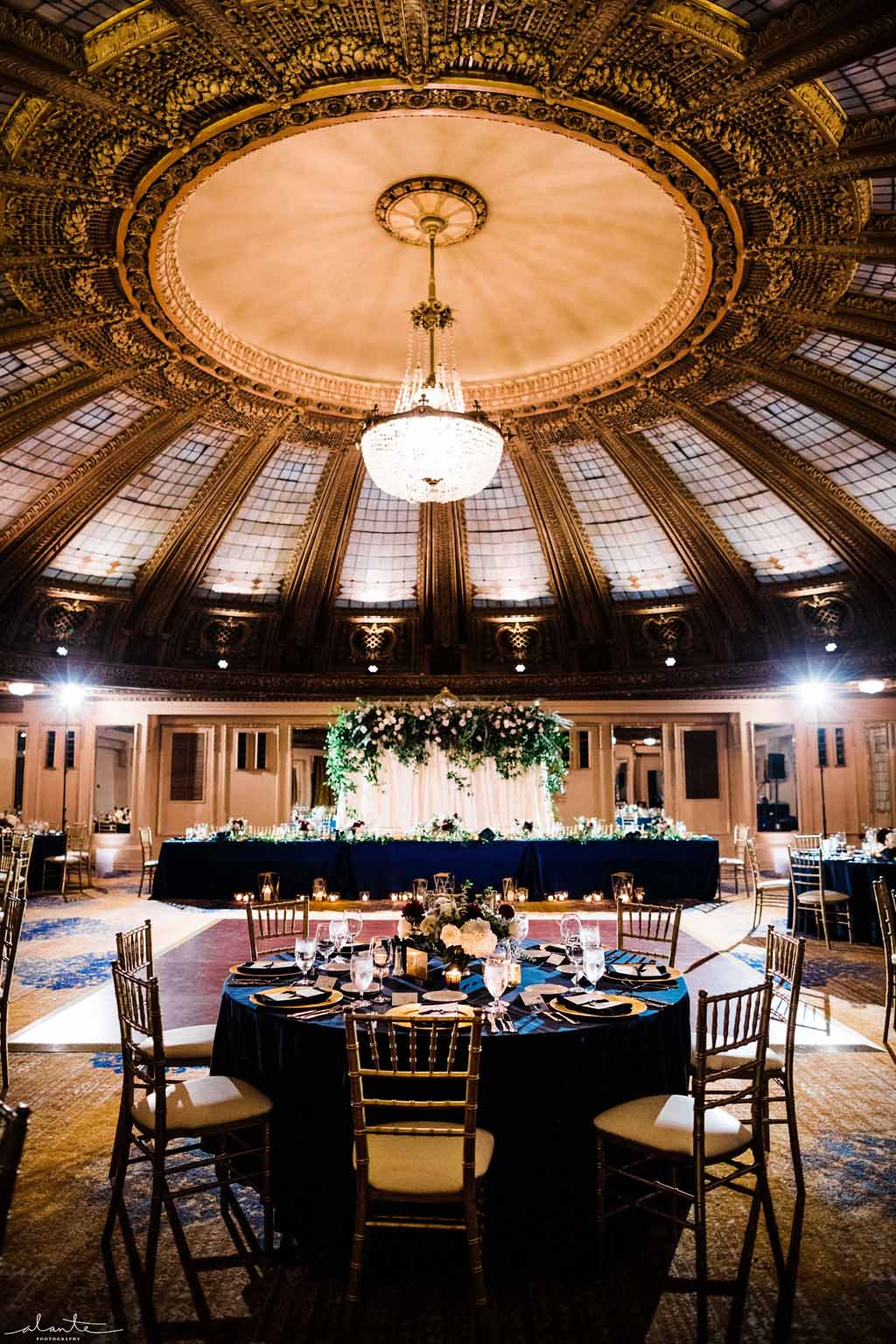 Wedding reception under the domed ceiling at the Arctic Club Seattle