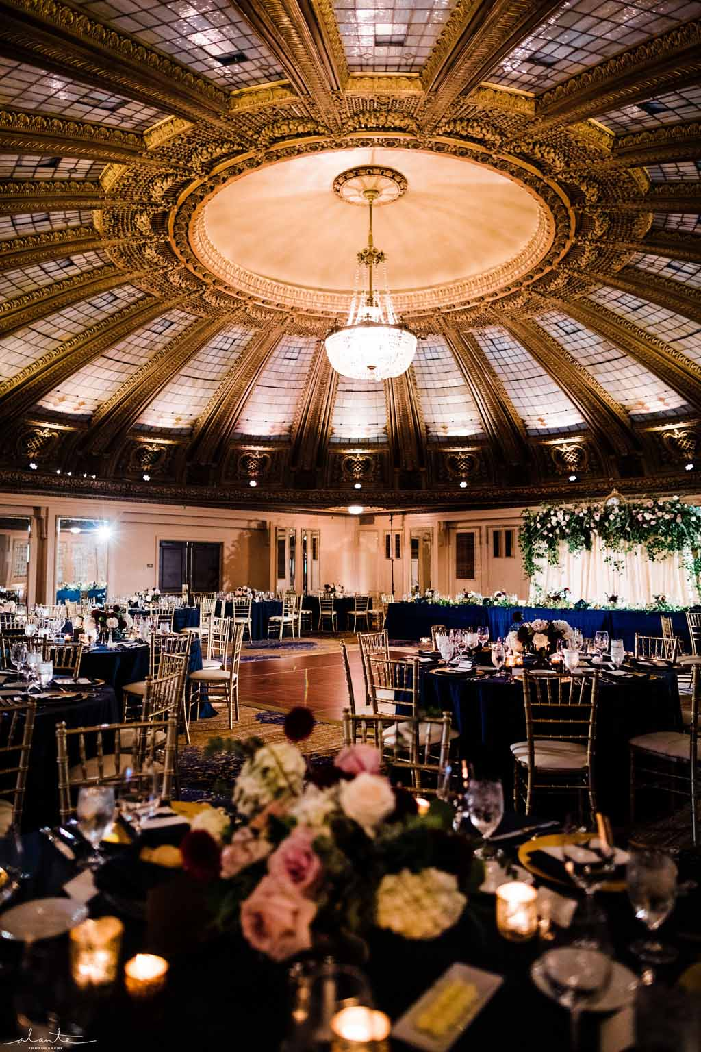 Burgundy and Navy wedding reception at the Arctic Club Seattle