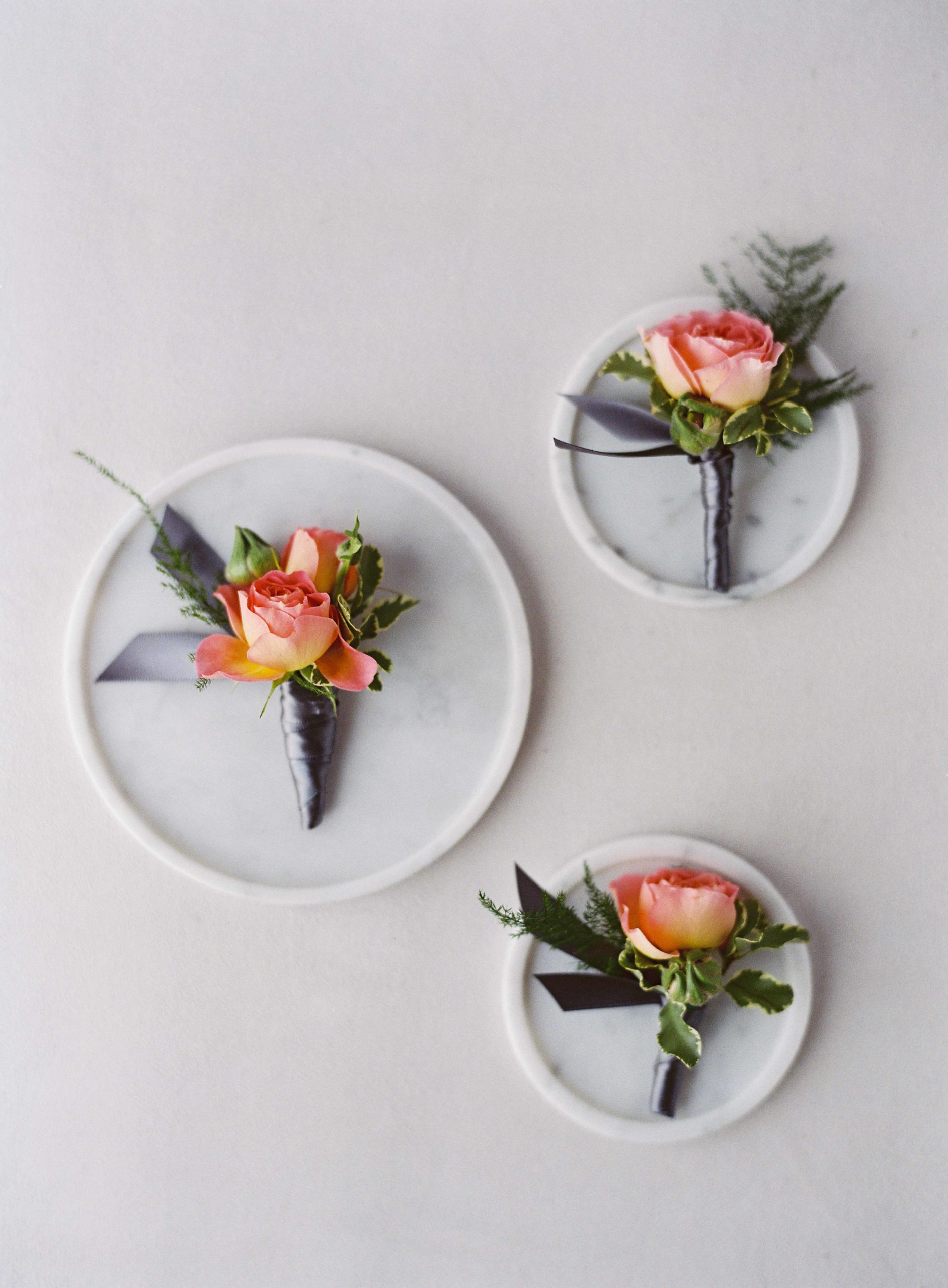 Hot pink and peach boutonnieres - Seattle Wedding Flowers by Flora Nova Design; Hot pink and peach wedding at Roche Harbor Resort