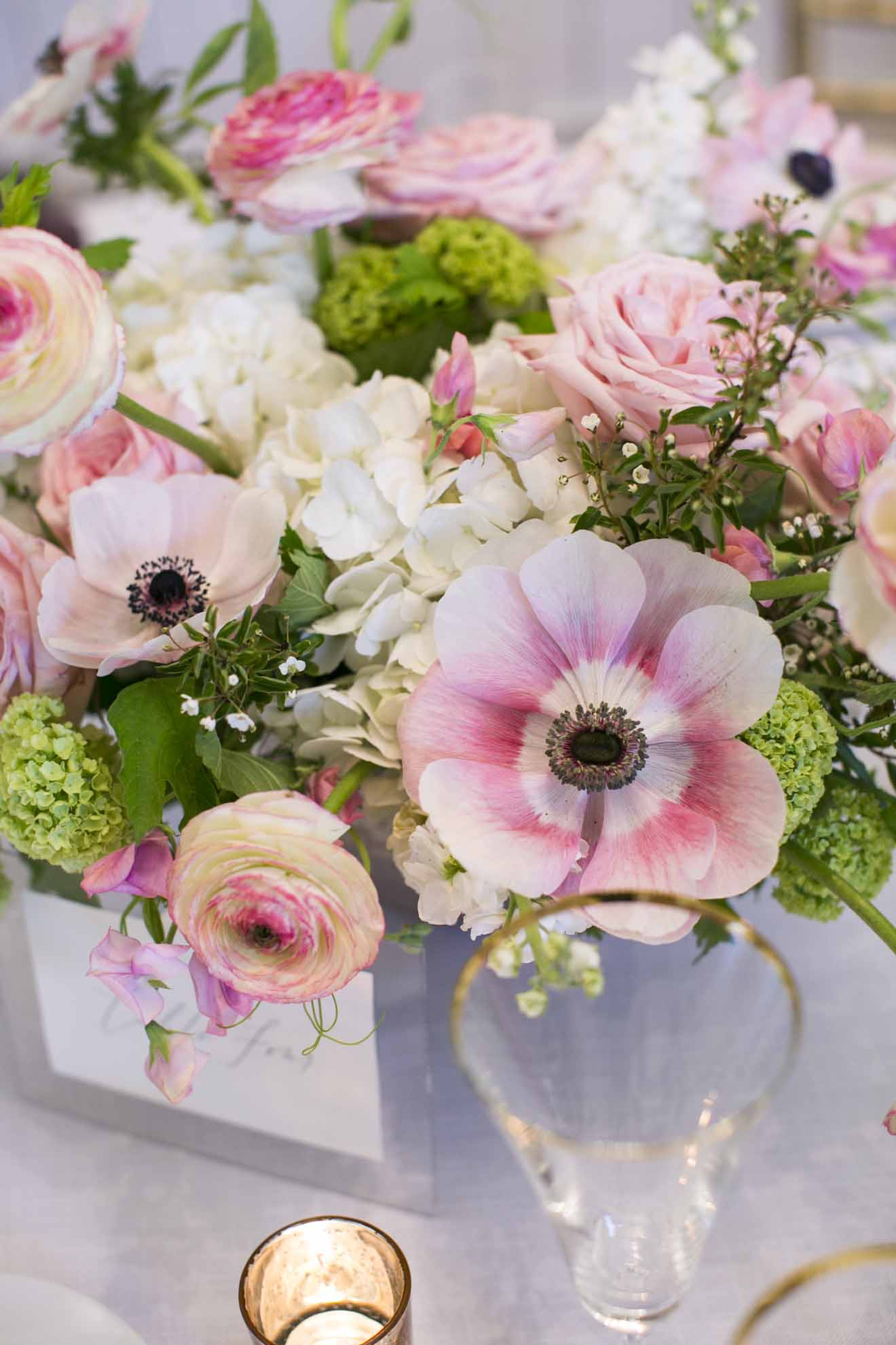 spring flower centerpiece with pink anemones