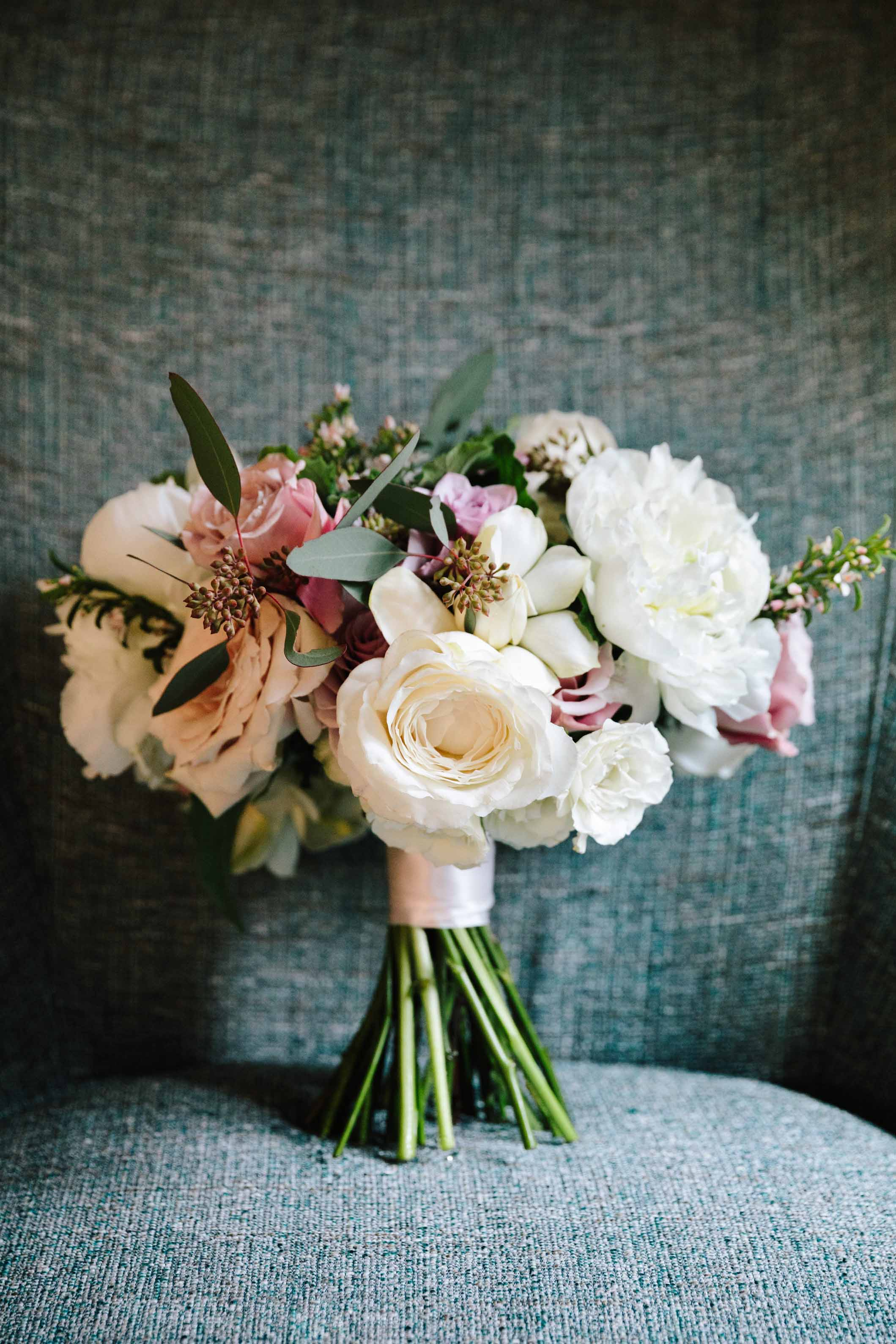 Spring garden bouquet in blush and white.