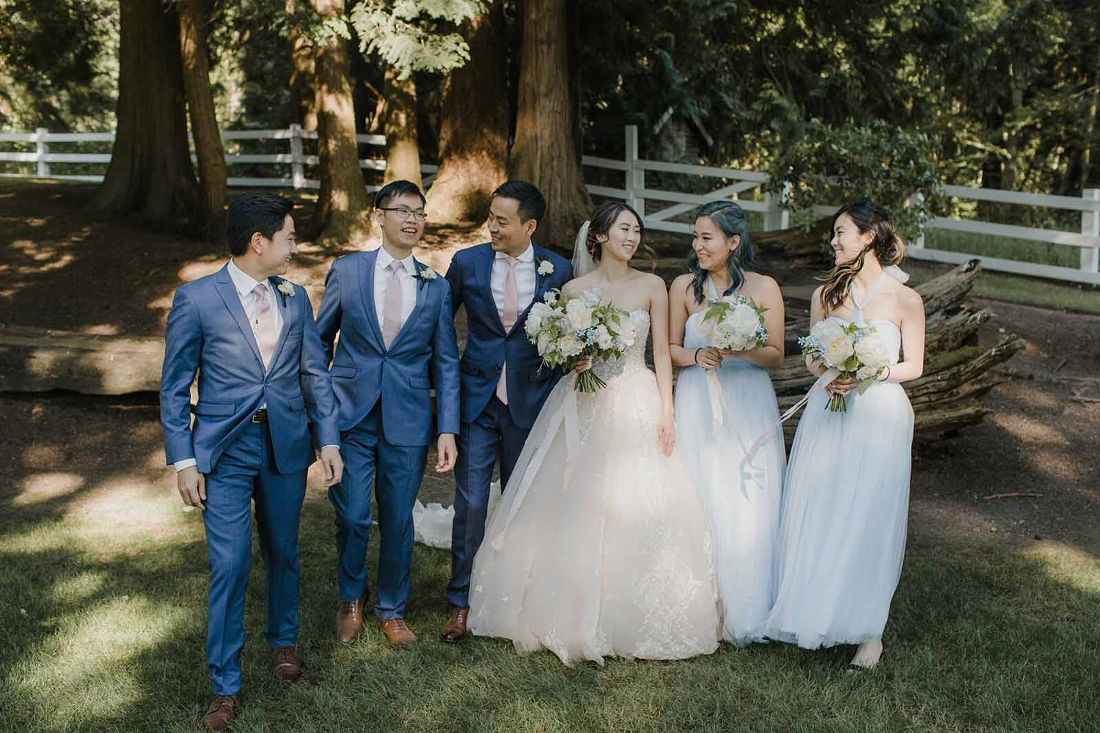 Bridal party in shades of blue at Chateau Lill.