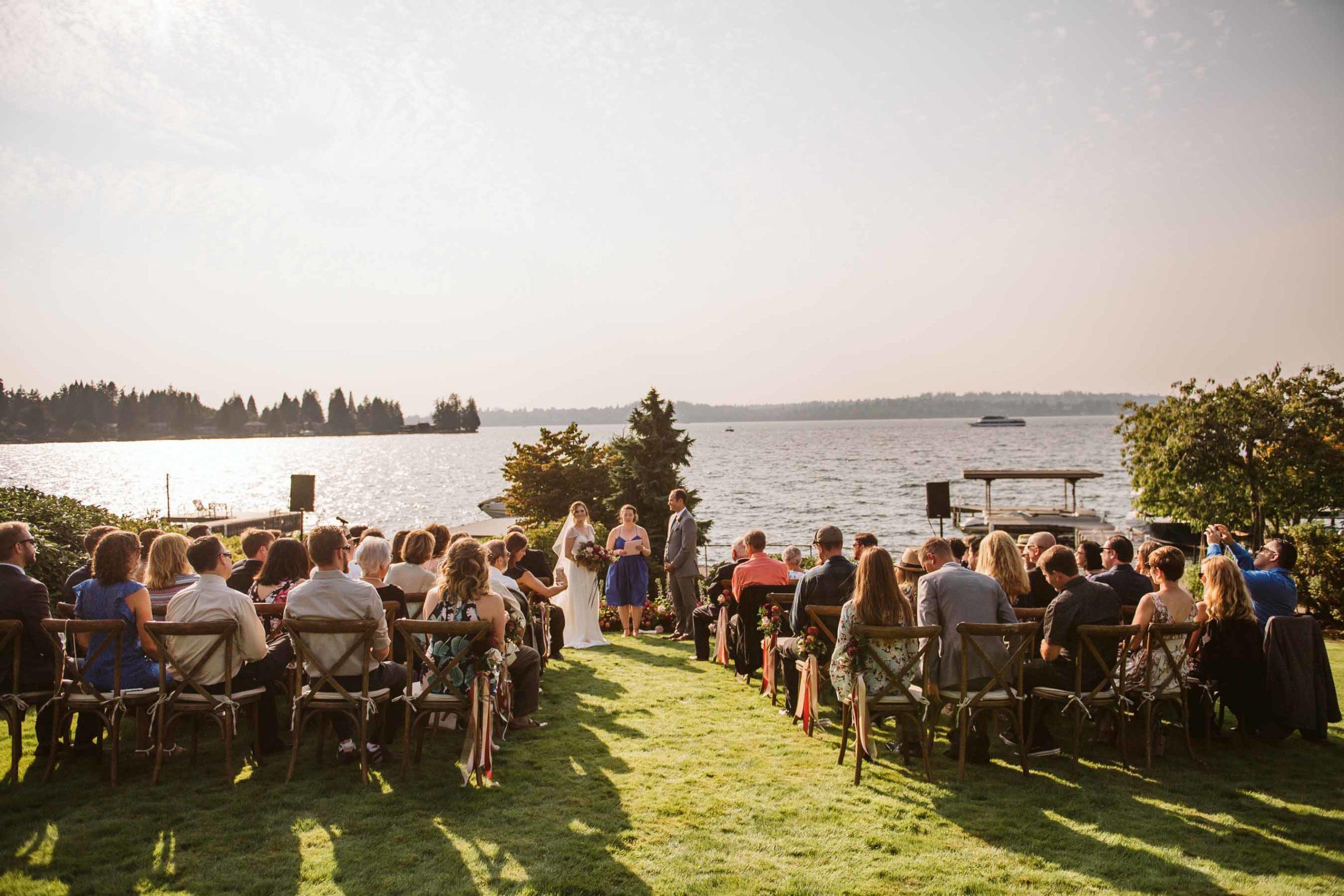 Outdoor summer garden wedding on Lake Washington | Flora Nova Design Seattle
