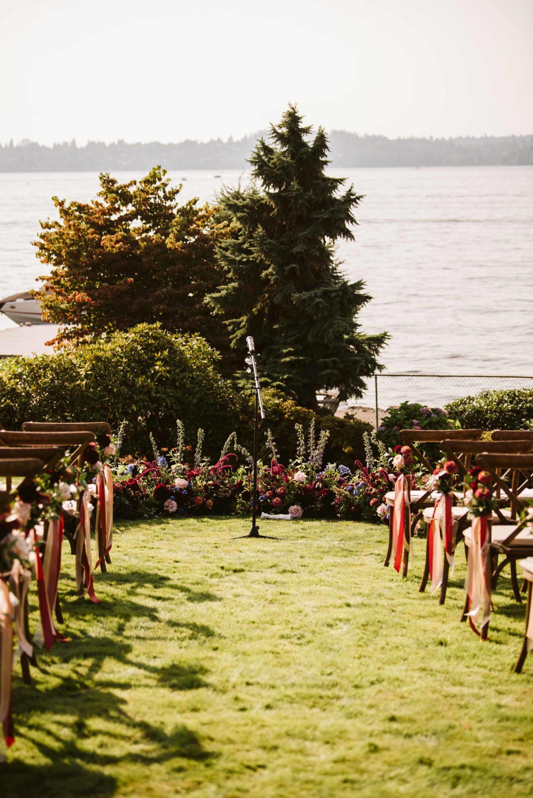 Outdoor summer wedding ceremony on the lawn of brides family home on Lake Washington | Flora Nova Design Seattle