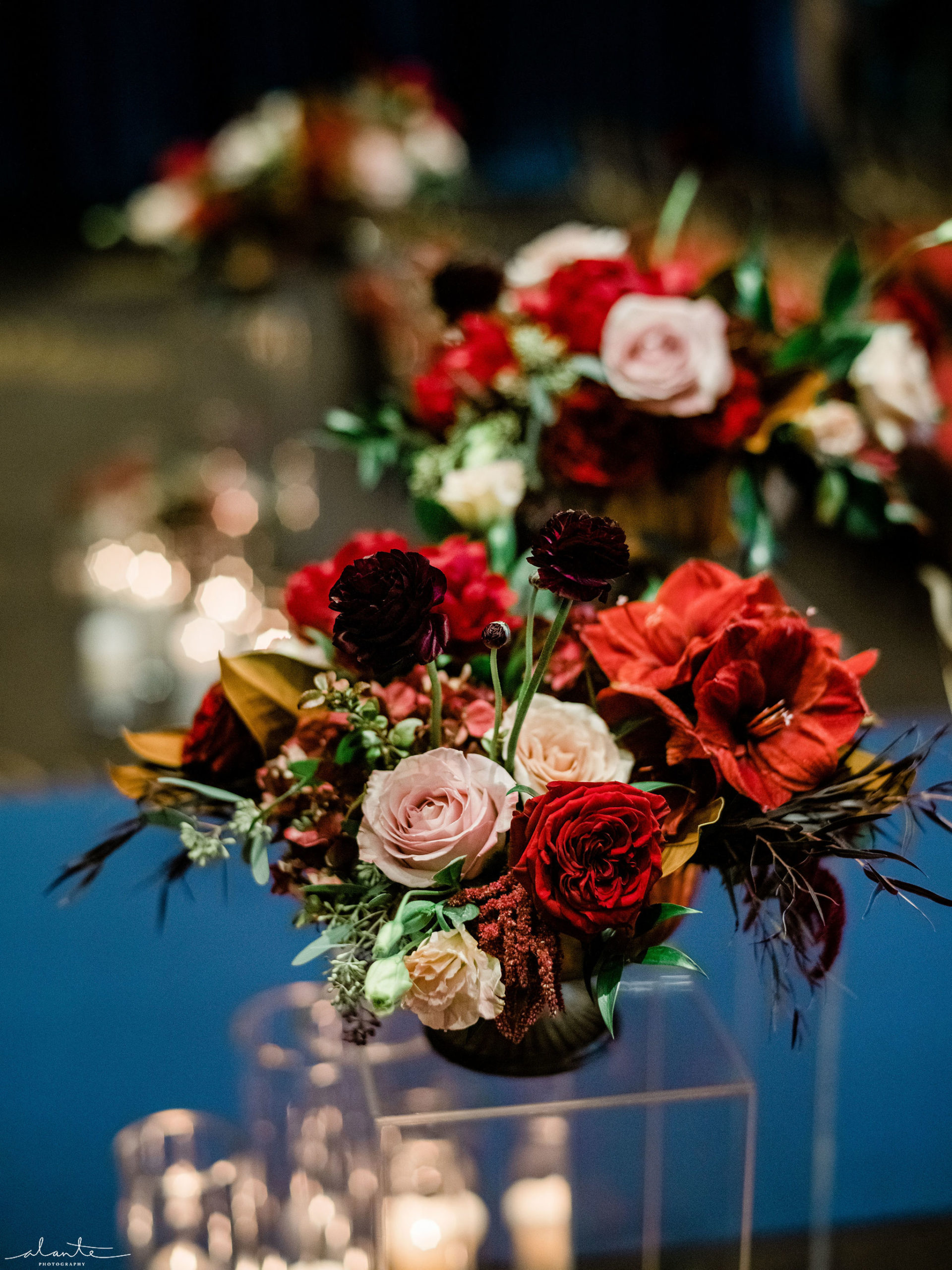 Low compote arrangements with red amaryllis, roses and other winter floral for a red winter wedding.