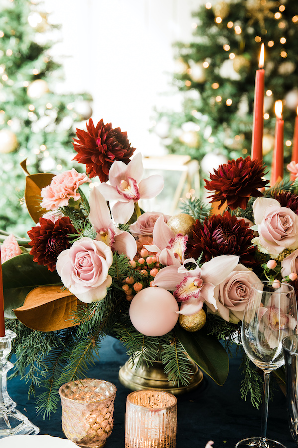 Centerpiece for the holiday dinner table by Flora Nova Design Seattle