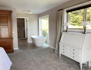 Freestanding bathtub in newly remodelled master bath