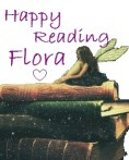 signature graphic. Happy reading from flora image sitting on books