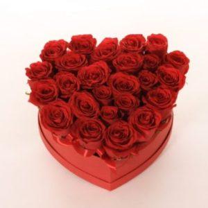 Flowerbox roses rouge