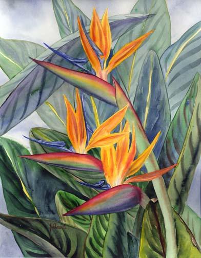 Bird of Paradise Flower Art  Floravita Reverse Painted