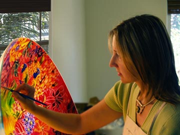 Jenny Floravita Creates Reverse Painted Glass Chandeliers