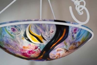 Volcanic Ocean Reef Hand Painted Chandelier By Jenny Floravita