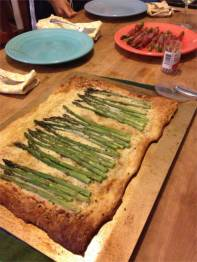 Asparagus with gruyere on puff pastry.