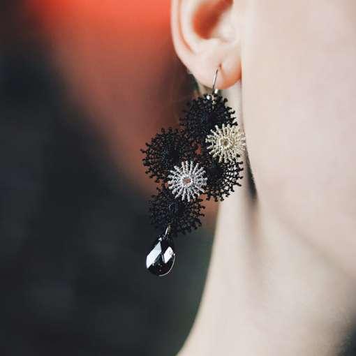 Pléaides boucles oreille textile