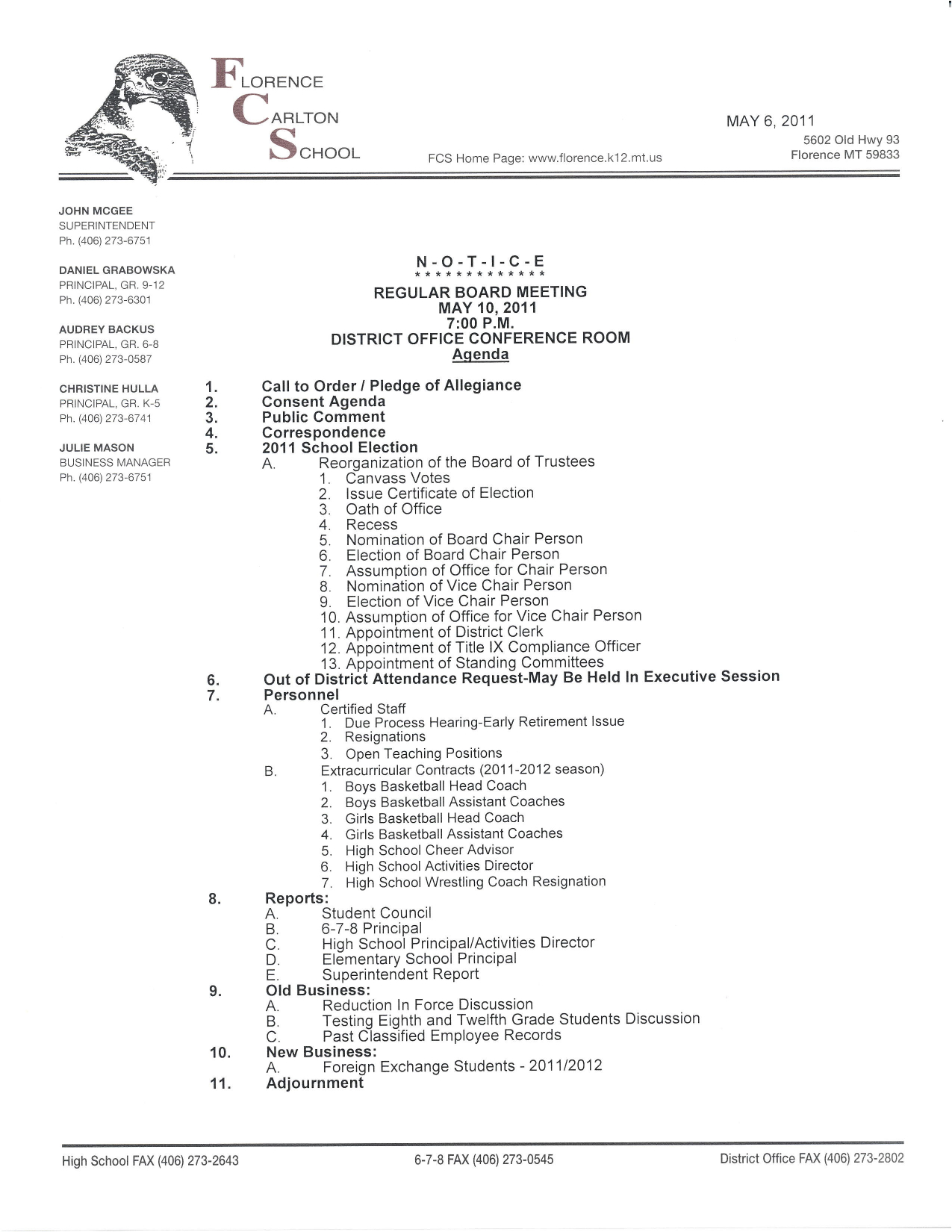 Upcoming Board Meeting Agenda for May 10th, 2011
