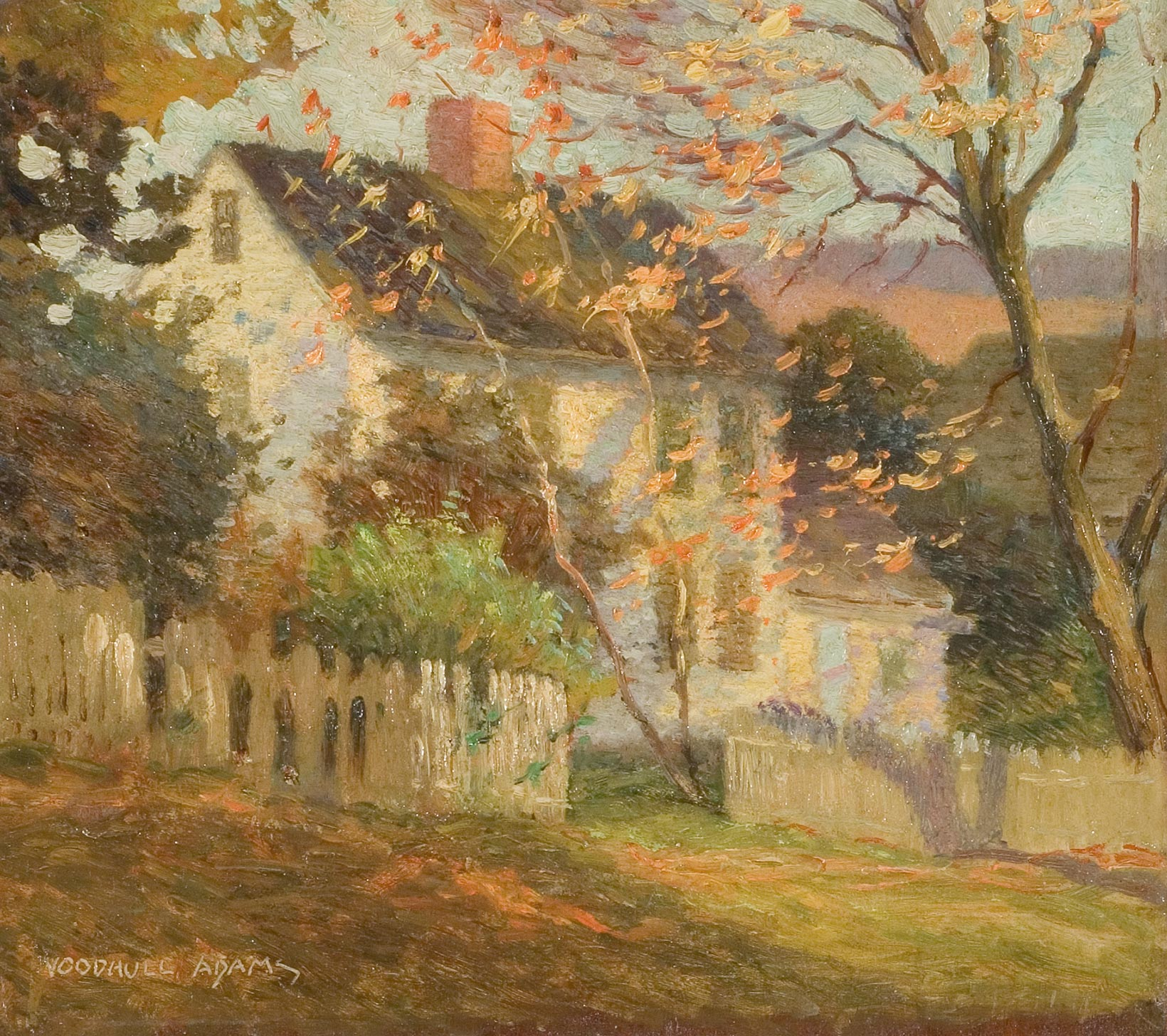 White Cottage In Autumn Panel Painting By Woodhull Adams